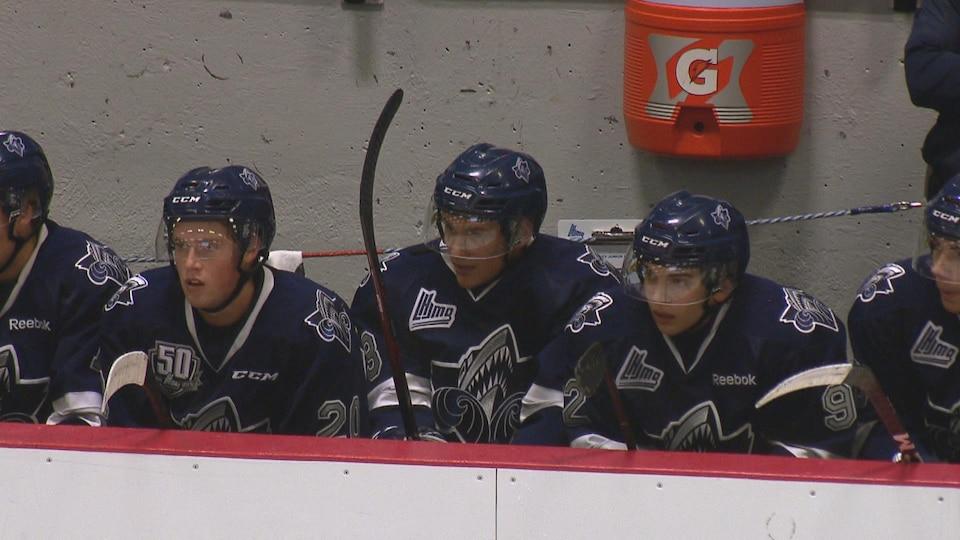 Des joueurs sur le banc surveillent ce qui se passe sur la glace.