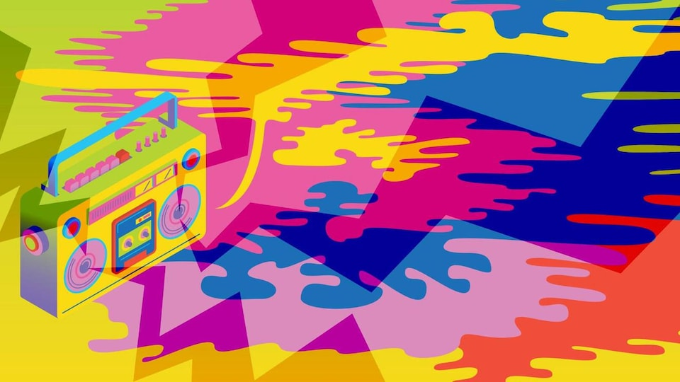 Une image illustrant une radio et plusieurs formes abstraites.