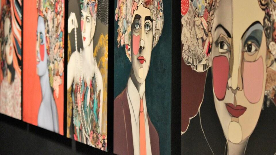 Quelques oeuvres grandeur nature d'Adèle Blais qui se retrouvent dans le livre Les sublimes.