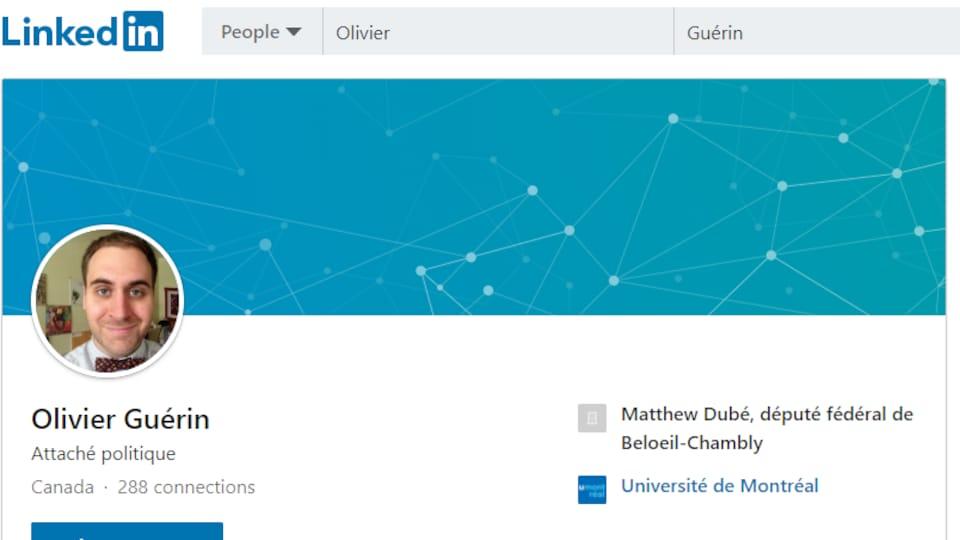 La page Linkedin d'Olivier Guérin.