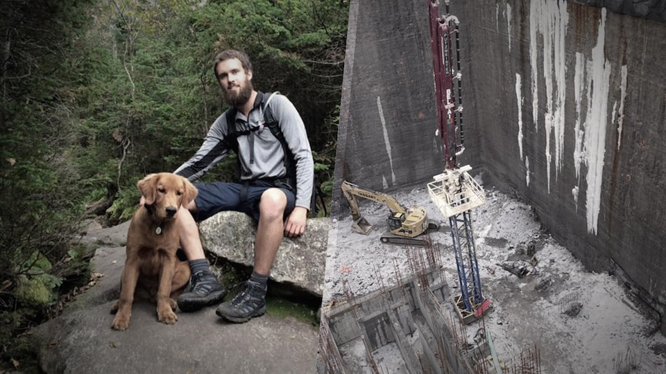 À gauche, Olivier Bruneau avec son chien dans une forêt, à droite, le chantier de construction où il est mort.