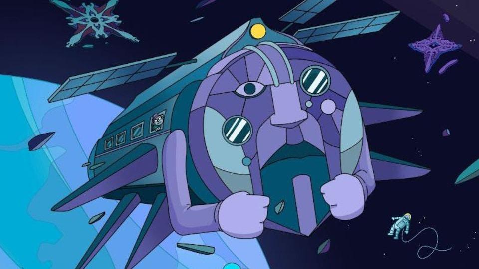 Dessin d'un vaisseau spatial aux formes humaines dans l'espace.