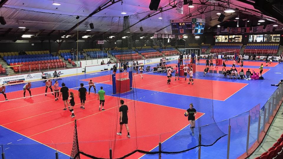 L'aréna d'Amqui divisé en 4 terrains de volleyball avec plusieurs joueurs en action.