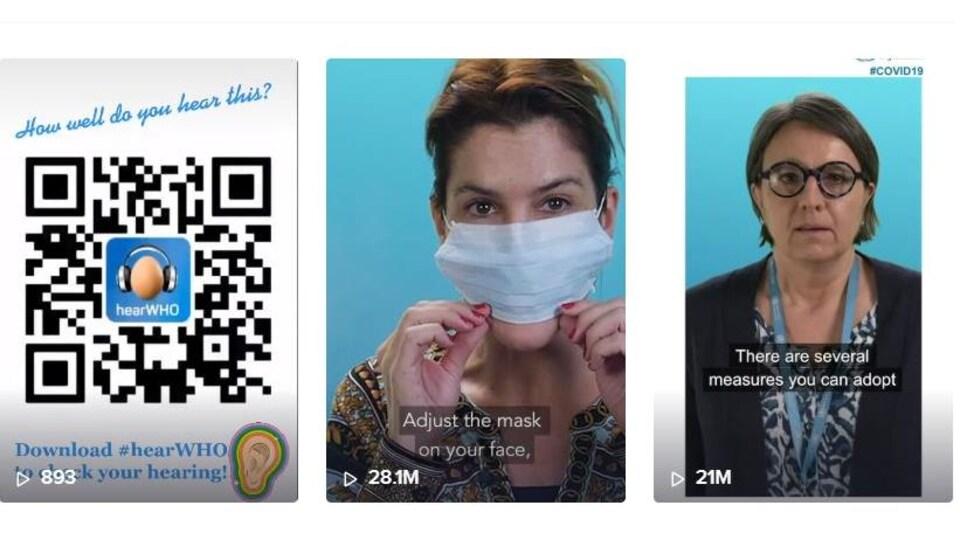 Un aperçu du compte TikTok de l'OMS, où l'on peut voir trois images qui présentent de courtes vidéos.
