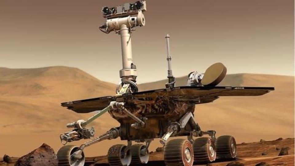 Représentation artistique du robot Opportunity lors de son arrivée à la surface de Mars en 2004.