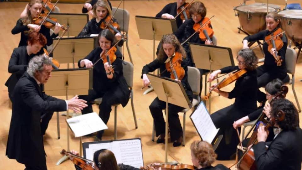 Plusieurs violonistes sont assis et interprètent une pièce du compositeur Mozart.