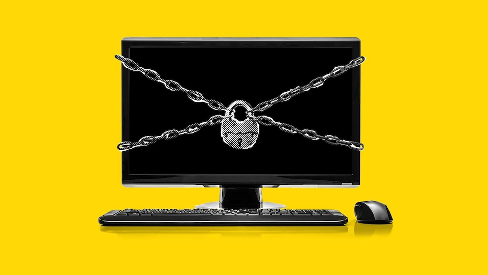 Un ordinateur cadenassé.