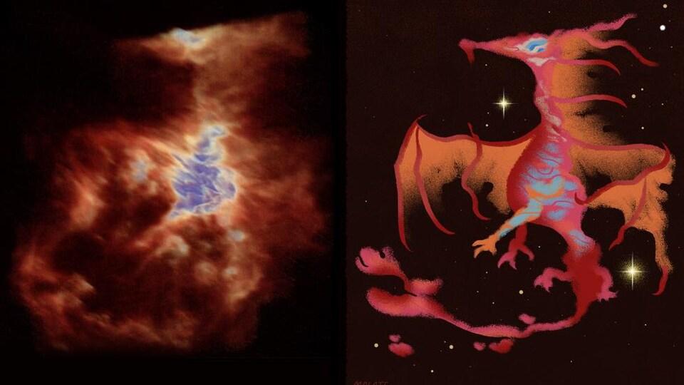 Représentation artistique du dragon observé dans la nébuleuse d'Orion.