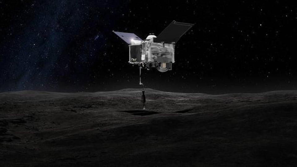 Image artistique représentant OSIRIX-REx entrant en contact avec l'astéroïde Bennu.