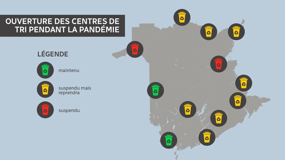 Carte des centres de tri dont le service est suspendu, maintenu ou suspendu temporairement au Nouveau-Brunswick.