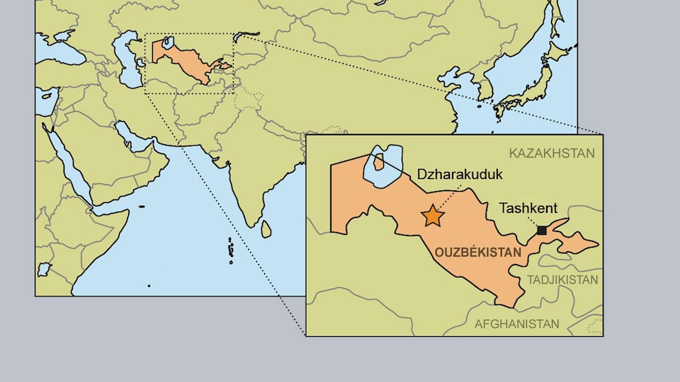 Carte pointant l'Ouzbékistan.