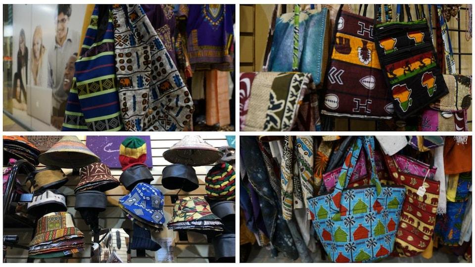 Un collage de quatre photos avec des chapeaux et des sacs.