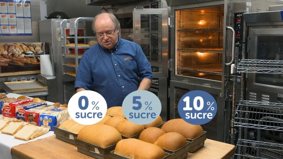 Différents pains sont présentés sur la table