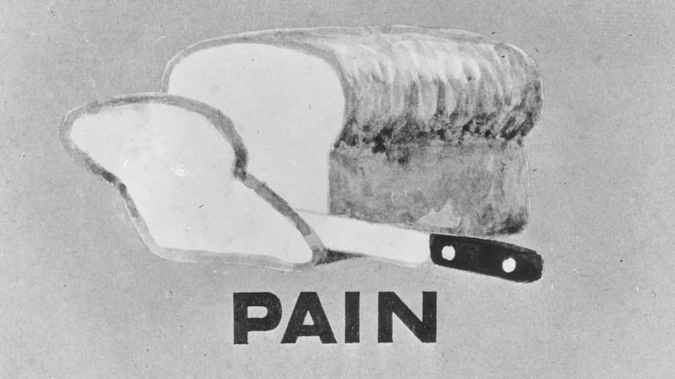 Illustration de pain tranché avec un couteau.