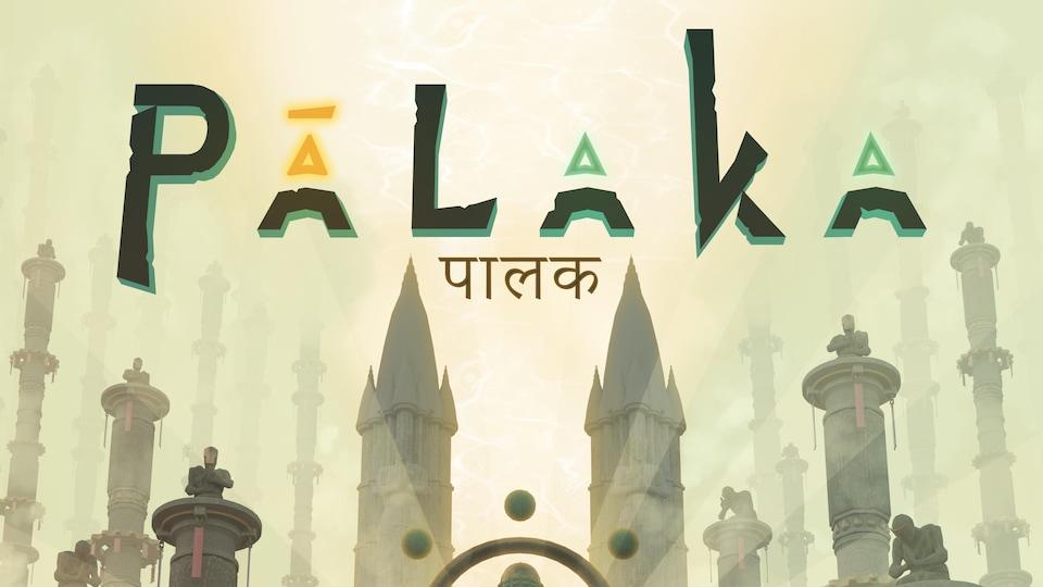 L'affiche du jeu vidéo «Palaka», qui montrent un temple, des tours et deux personnages qui se tiennent la main.