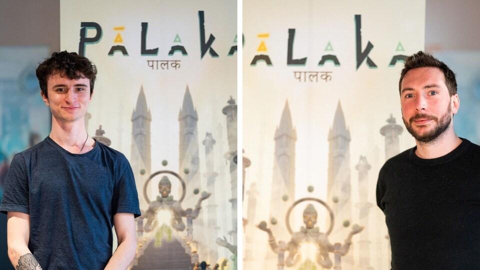 Montage photo montrant le portrait de deux hommes devant une affiche de jeu vidéo.