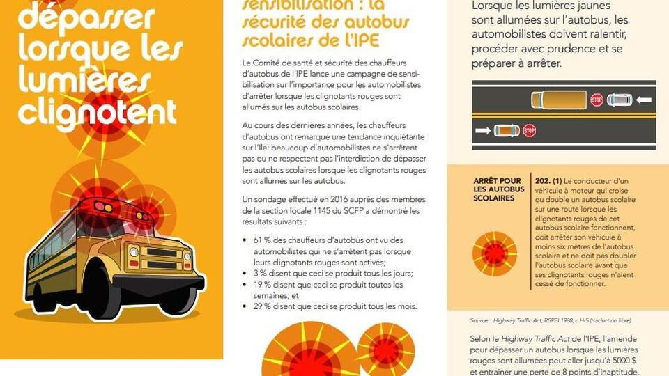 Dépliant explicatif distribué par le syndicat des conducteurs d'autobus scolaires de l'Île-du-Prince-Édouard.
