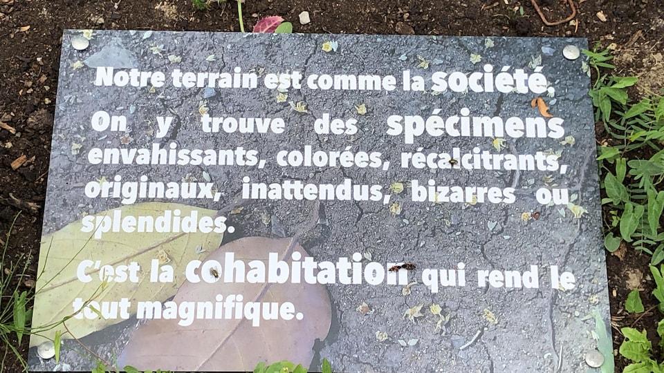 Une pancarte, posée au sol, sur laquelle on peut lire : notre terrain est comme la société. On y trouve des spécimens envahissants, colorés, récalcitrants, originaux, inattendus, bizarres ou splendides. C'est la cohabitation qui rend le tout magnifique.