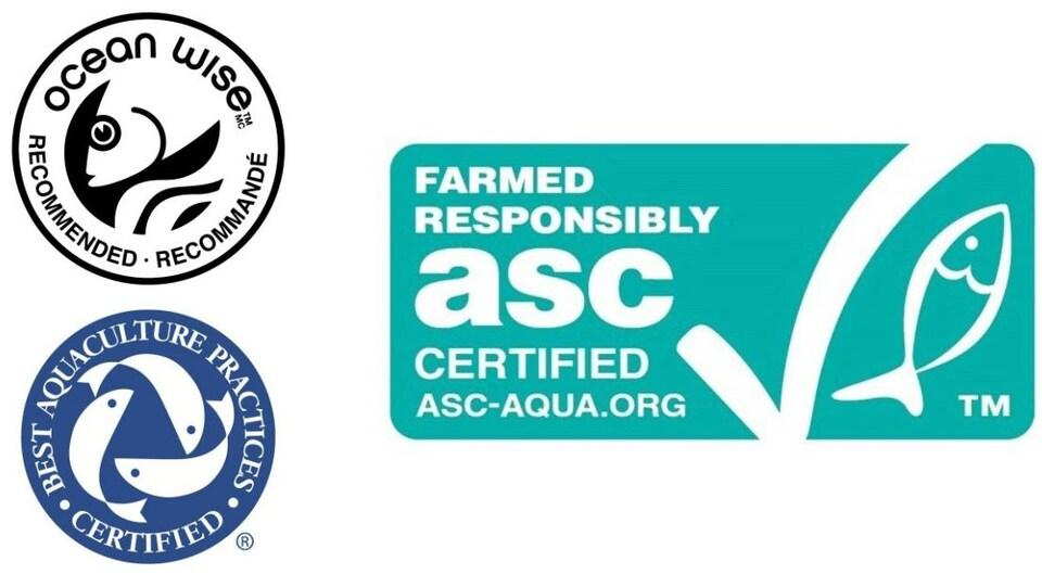 Les logos de Best aquaculture practices, Ocean Wise et Aquaculture Stewardship Council