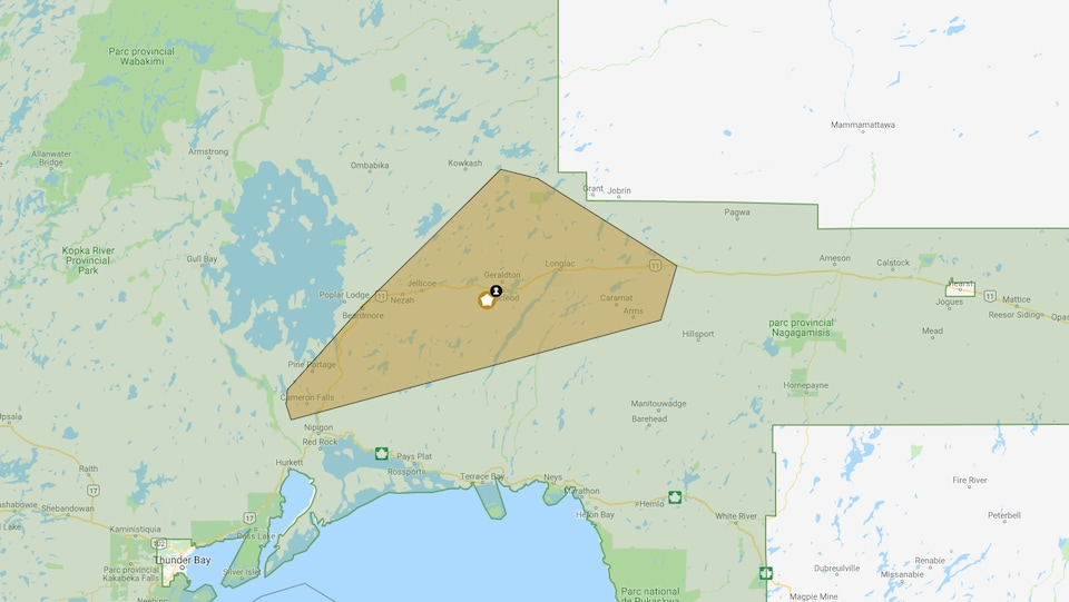 La carte interactive d'Hydro One montre la région affectée par la panne, de Caramat et Arms jusqu'à Cameron Falls.