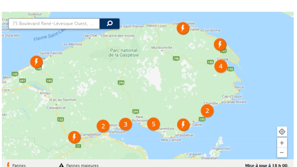 Des pannes de courant sont indiquées sur une carte de la Gaspésie sur le site web d'Hydro-Québec.