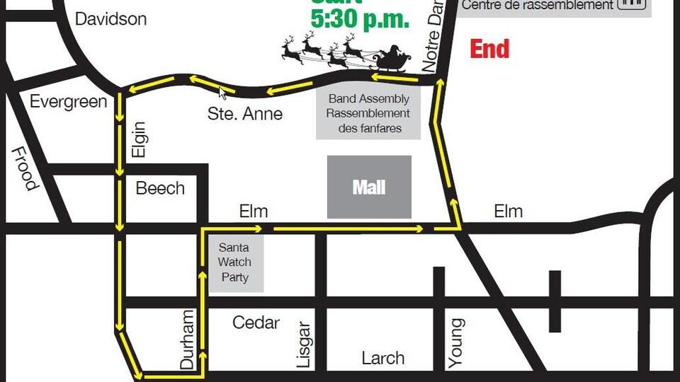 Une carte montrant le parcours emprunté par la parade au centre-ville du Grand Sudbury.