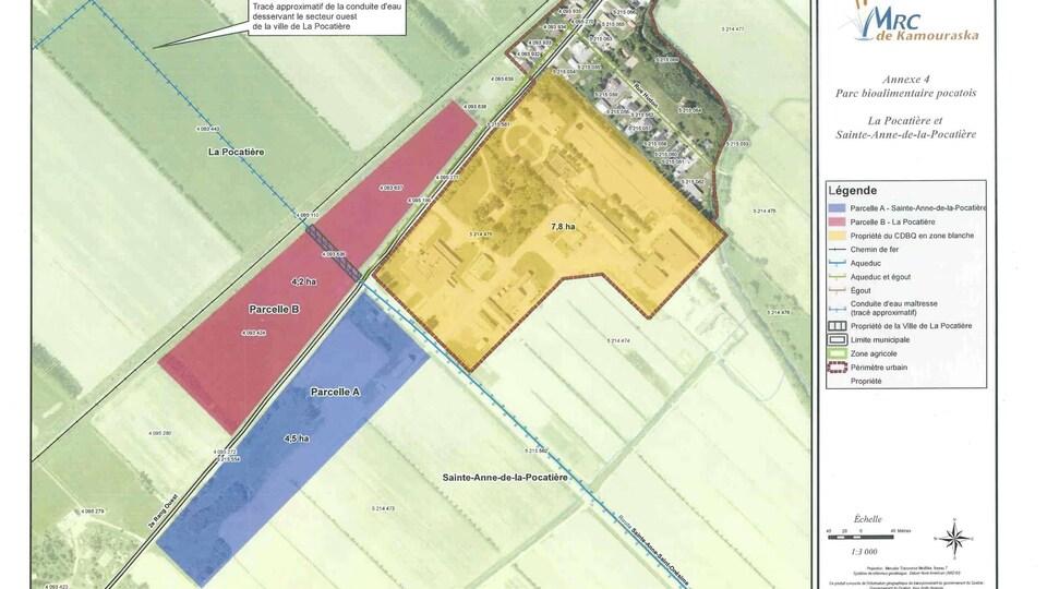 La carte des terrains concernés pour le projet de parc bioalimentaire.