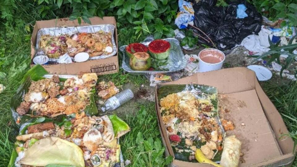 Des déchets de nourriture jonchent le sol, sur l'herbe.