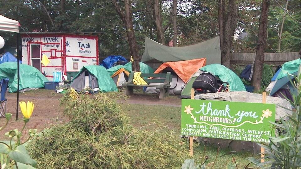 Des tentes et des campements de personnes sans-abri dans un parc.