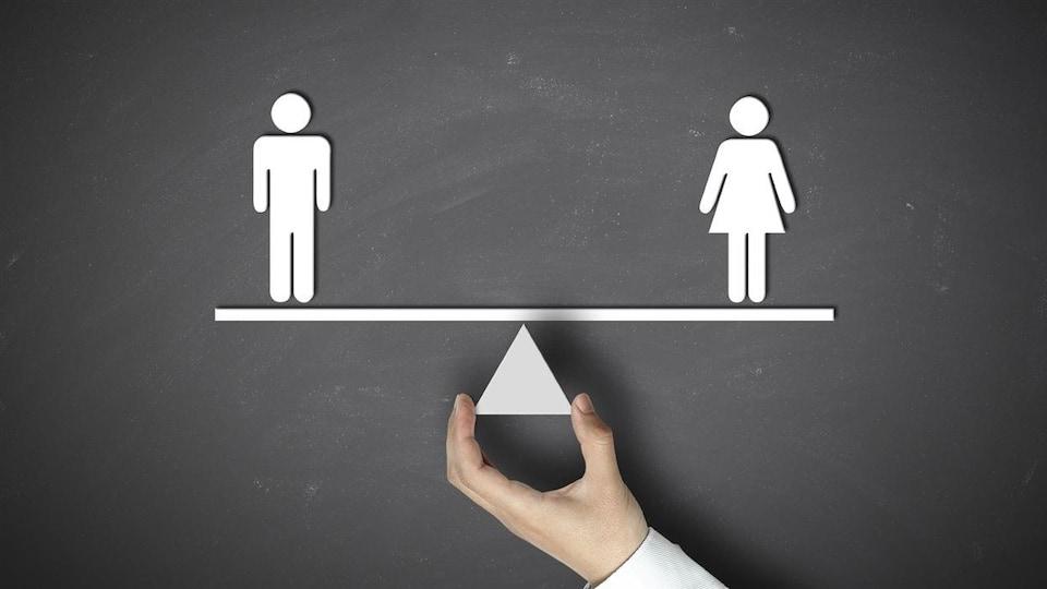 Une balance avec un symbole d'homme à gauche et un symbole de femme à droite.