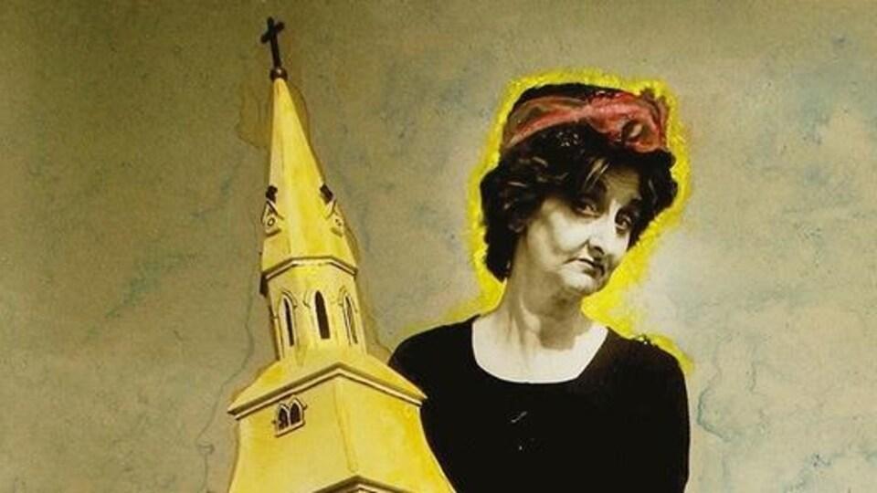 Couverture du livre « Paroles et regards de femmes en Acadie ». Une femme qui tient une maquette d'une église.