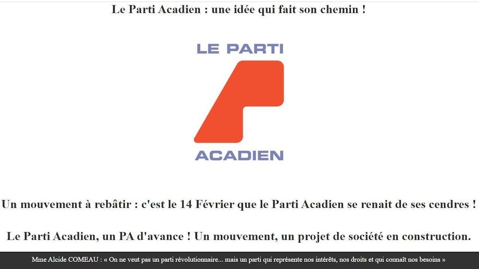 Une prise d'écran du site web du nouveau Parti acadien.