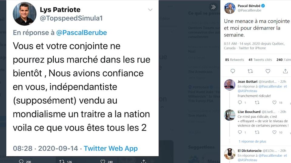 Le message de Lys Patriote sur le compte Twitter de Pascal Bérubé