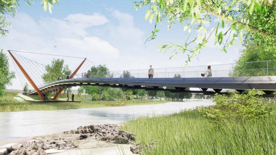 Une esquisse de projet, on voit une passerelle qui surplombe la rivière, avec des gens qui se déplacent dessus. C'est l'été, au soleil.