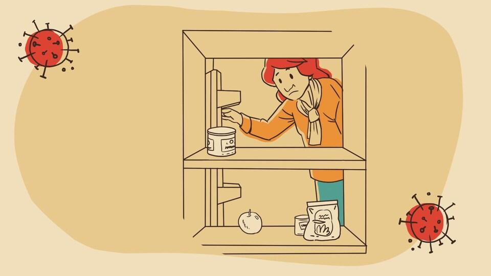 Pauline a besoin d'aller à l'épicerie. Son réfrigérateur est vide.