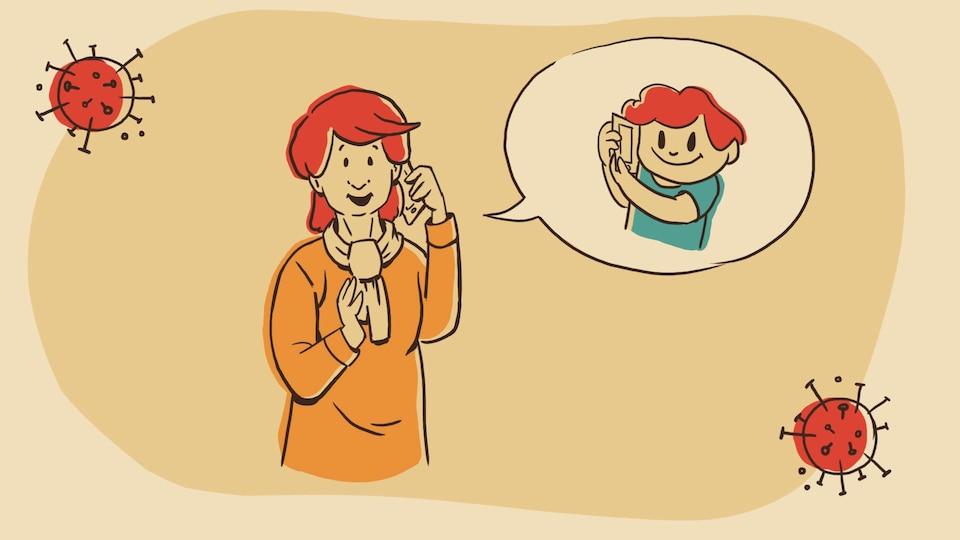Pauline parle au téléphone avec son petit-fils Louis.