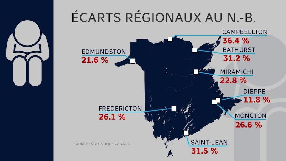 Une carte du Nouveau-Brunswick qui montre le taux de pauvreté chez les enfants par municipalité.