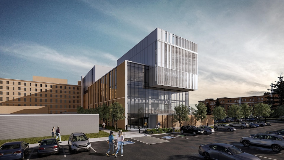Un croquis de l'hôpital avec le nouveau pavillon en ajout.