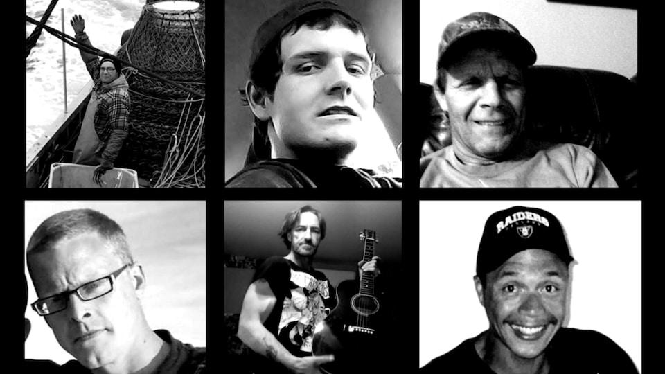 Montage photographique des six hommes.