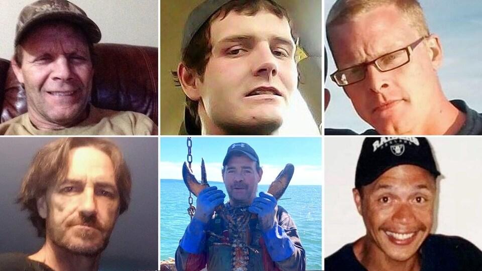 Les pêcheurs disparus sont Michael Drake, Aaron Cogswell et le capitaine Charles Roberts, ainsi que Daniel Forbes, Geno Francis et Leonard Gabriel.