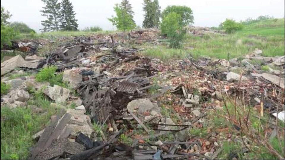 Des ruines de ciment, des briques dans un endroit avec des arbres et du long gazon.