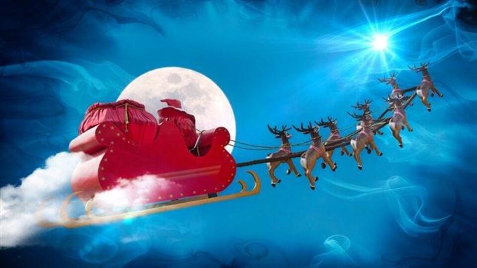 Illustration du traîneau du père Noël dans les airs tiré par les rennes