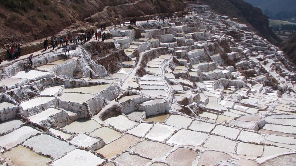 Une exploitation de mine de sel à ciel ouvert située à flanc de montagne, que des gens visite sur des sentiers.