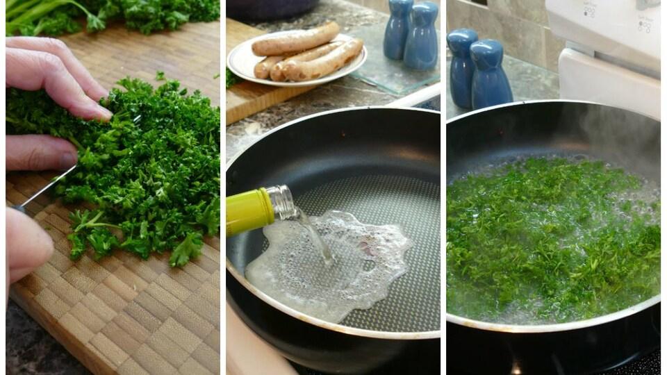 À l'aide d'un couteau, on hache le persil frais. On verse du vin blanc dans une poêle et on ajoute le persil qui bouillonne.
