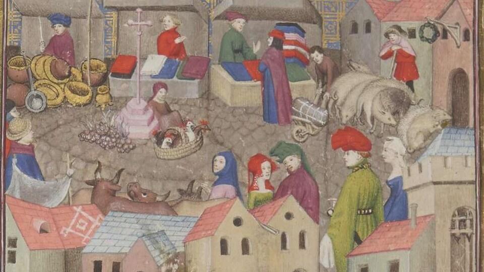Peinture représentant des commerçants installés en rond autour d'une place marchande, dans l'Europe médiévale.