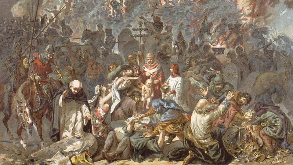 Tableau illustrant un massacre de juifs dans la France de 1348.