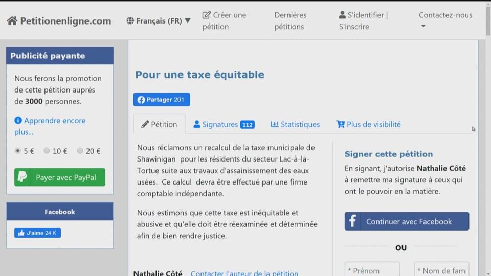 Page Internet où se trouve la pétition.