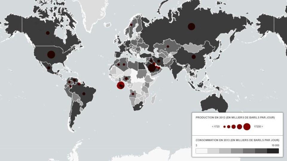 Carte montrant la production de pétrole par pays.