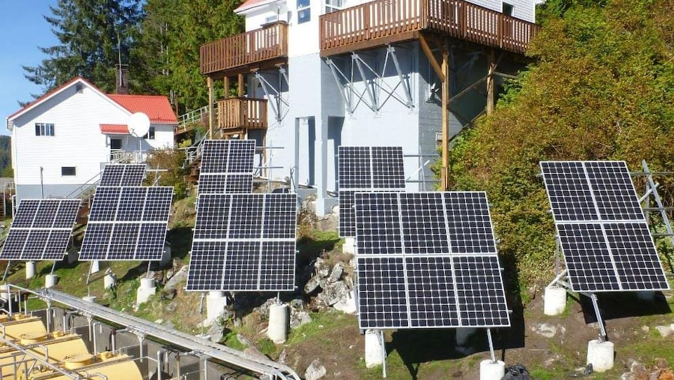 Deux maisons surplombent deux rangées de panneaux solaires sur une pente raide.