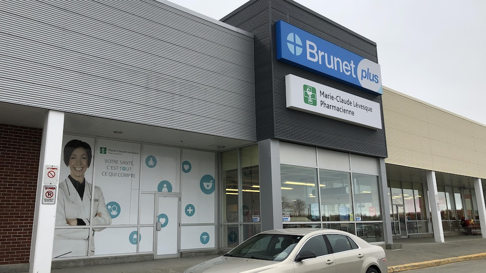 La façade de la pharmacie Brunet de Rouyn-Noranda.